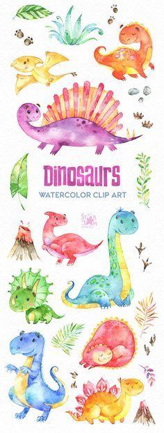 Dinosaurios Clip Art De Acuarela Personajes Dino Lindo Etsy Akvarel Illyustracii Cifrovye Shtampy