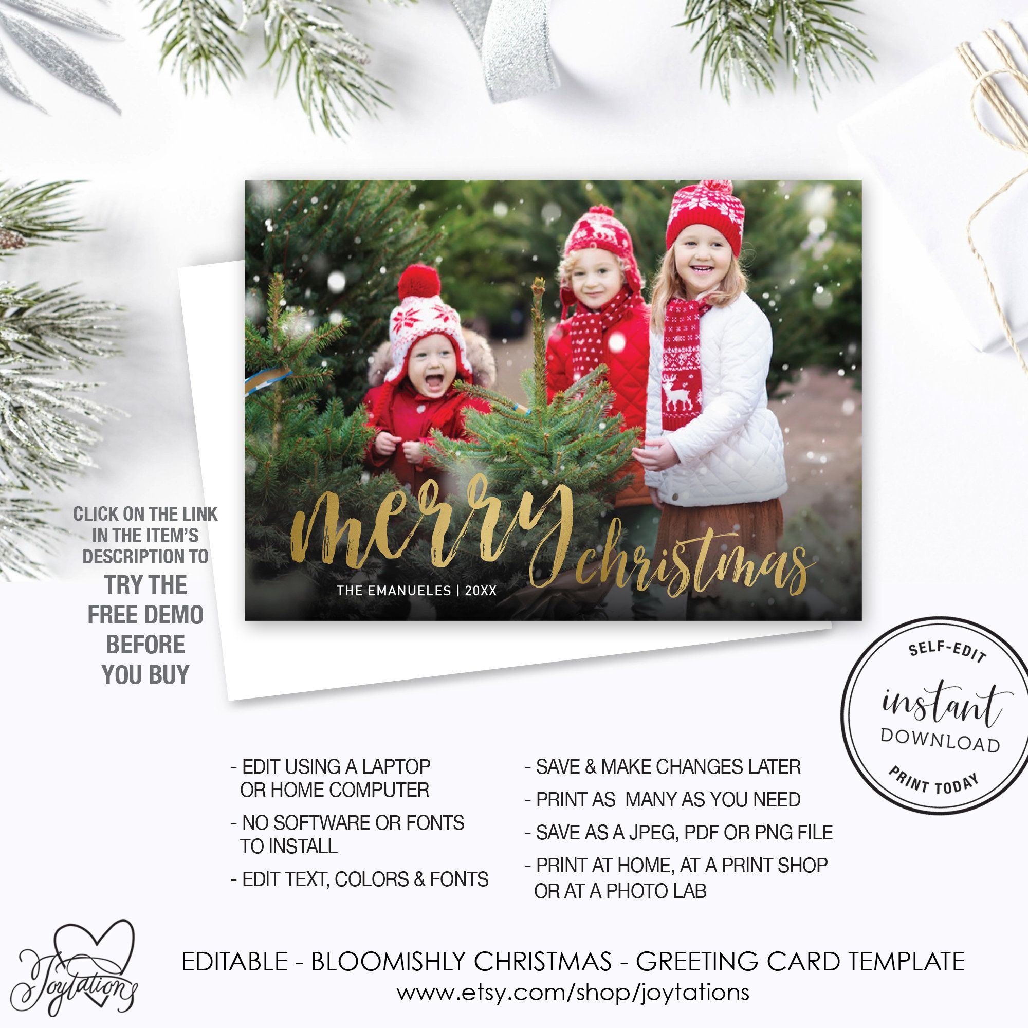 Merry Christmas Holiday Greeting Card With Photos Template Etsy Print Christmas Card Christmas Holiday Greetings Holiday Greeting Cards