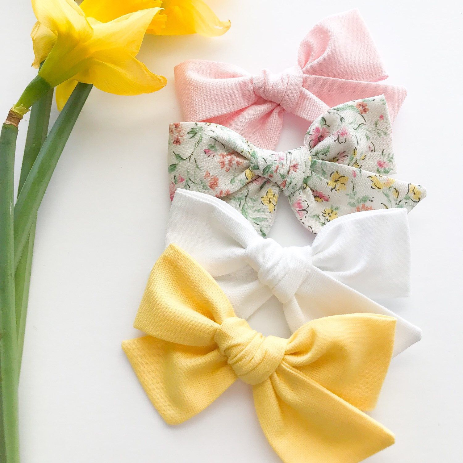 3901617308bac Pink Yellow Mint Floral Bow - Spring Floral Bow Headband - Baby Bow ...