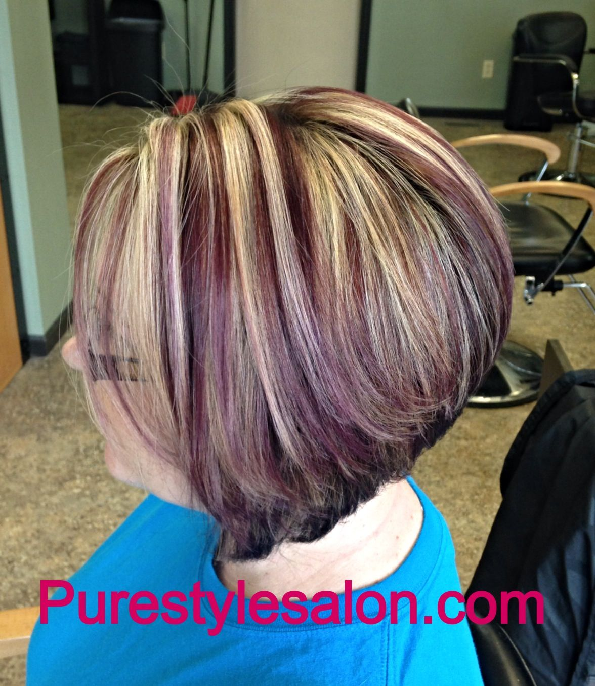 Deep Violet And Blonde Highlights Purple Blonde Hair Hair Streaks Short Hair Highlights