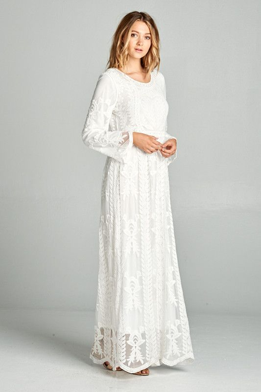 55120550dde32 Angel White Lace Maxi Dress with Pockets