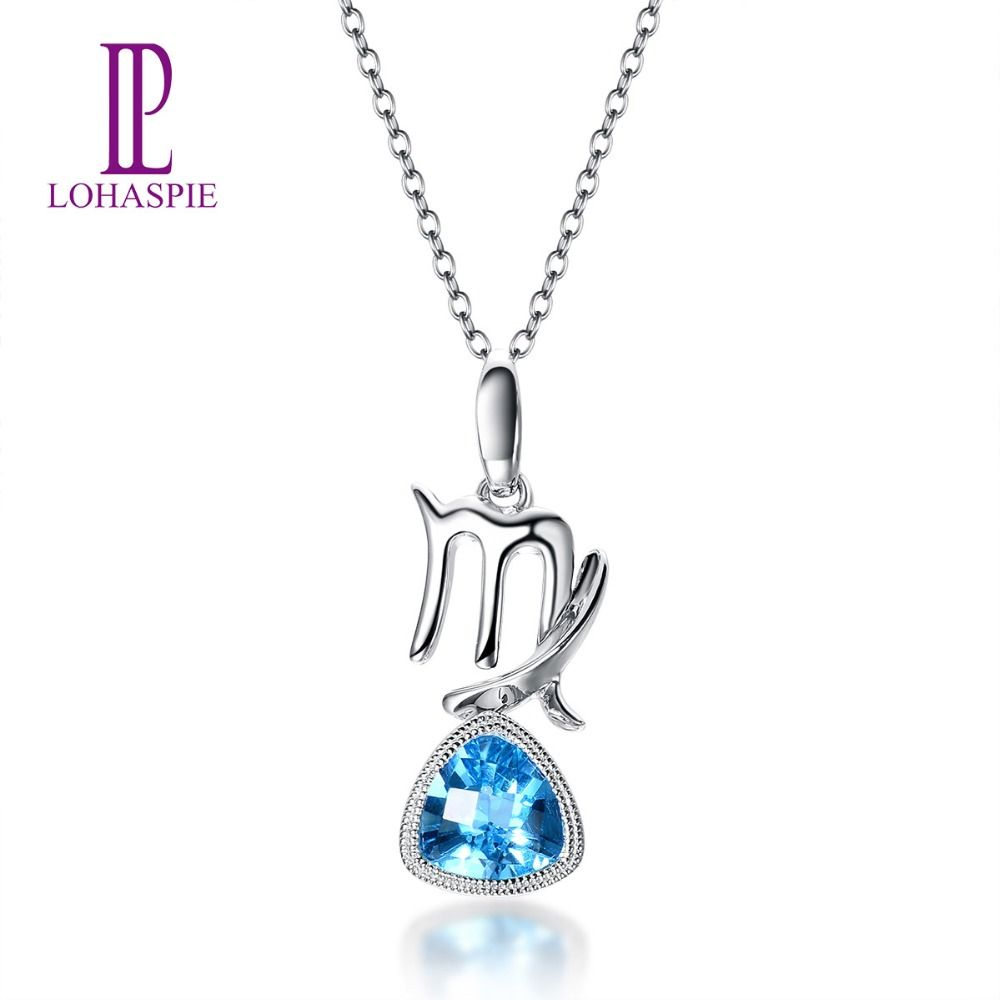 Lohaspie 0.86ct Natural Blue Topaz Solid 18k 750 White Gold Pendant Virgo Constellation Fine Jewelry Xmas Birthday Gift