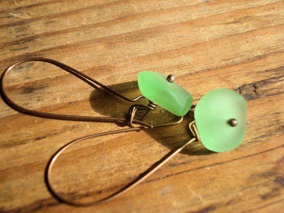 Sea green sea glass earrings sea glass by MicheladasMusings,