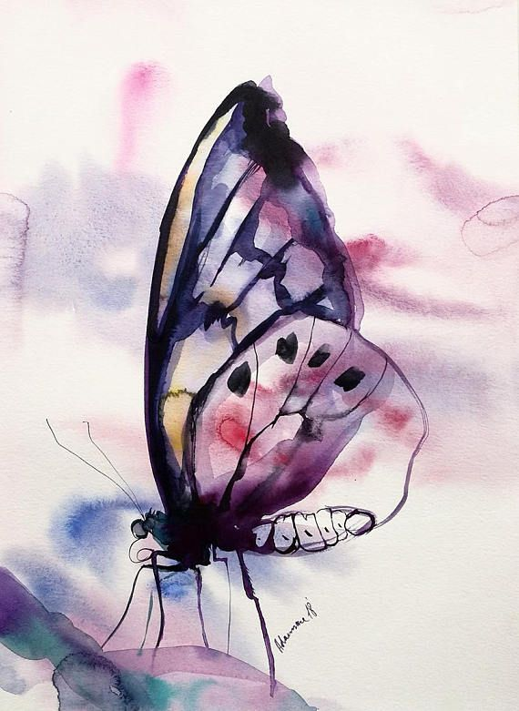 Butterfly Wall Art Original Watercolor Painting Water Color