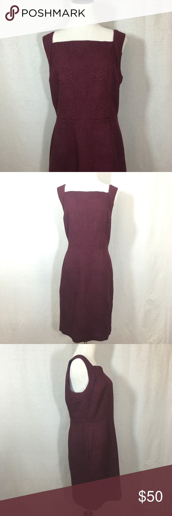 Banana Republic Dress Gently worn dress in a burgundy/ dark red color. The fabric has a design within it for added style. Banana Republic Dresses