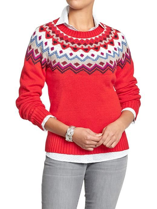 Women's Fair-Isle Yoke Sweaters Product Image | Fashion--Online ...