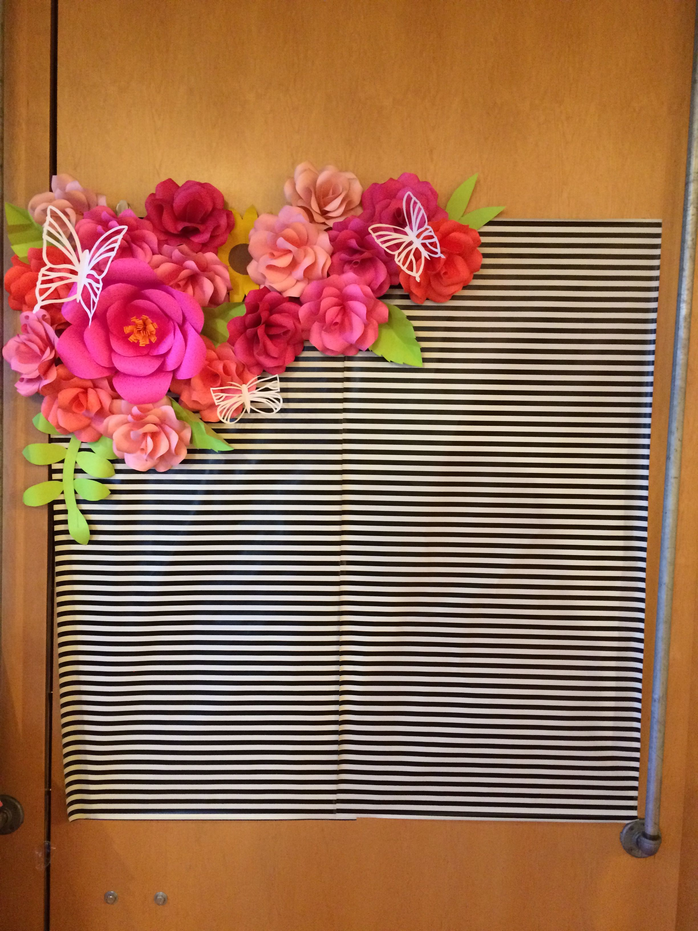 Kate Spade Backdrop Paper Flowers And Ks Wrapping Paper Bridal