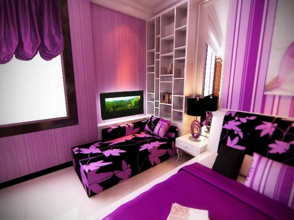 Remarkable Purple Themed Bedroom Ideas For S With Wall Colors And Bedding Also Cute Black Sofa Huge Size White