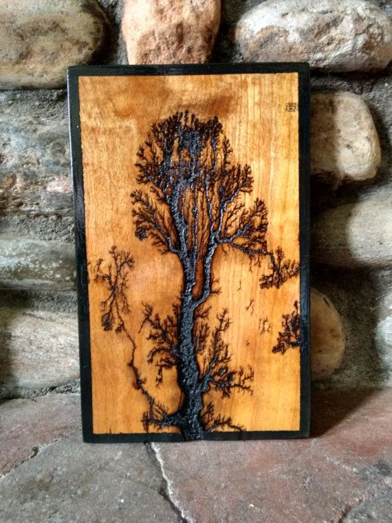 Electrified Wood Art : electrified, Electricaly, Engraved, Wooden, Lichtenberg, Figure, Fractal, Pattern, Burning, Crafts,, Figures,