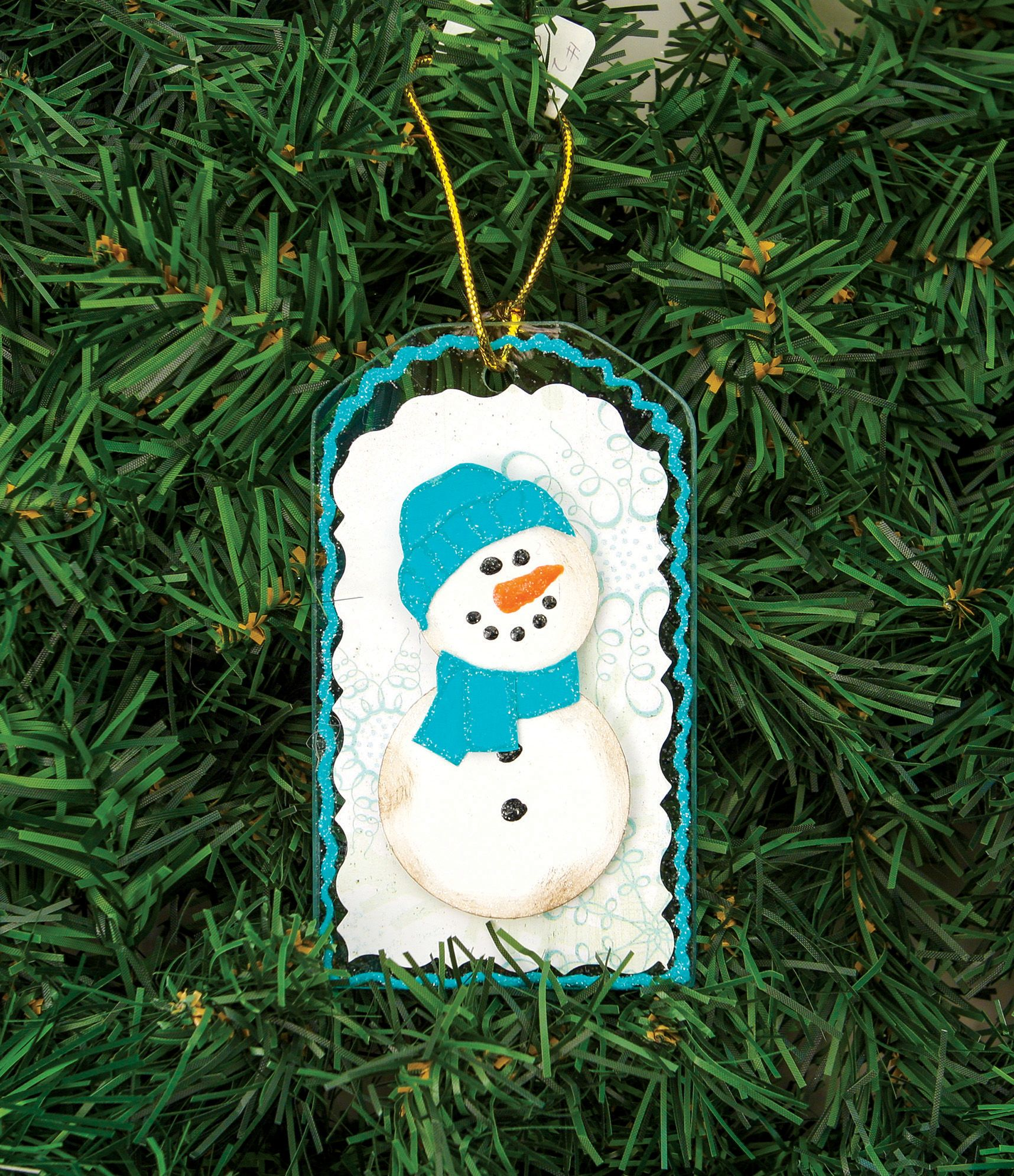 Nicole crafts snowman tag glass ornament ornaments craft