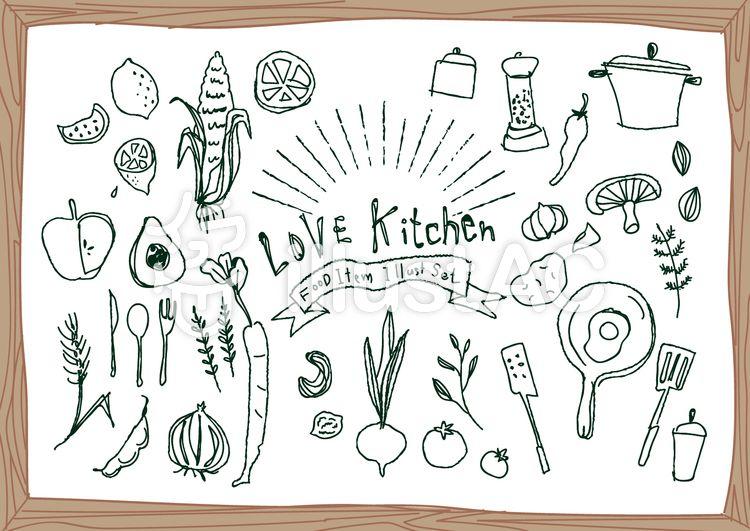 フリー素材 カフェやキッチンのチョークアート キッチン てがき