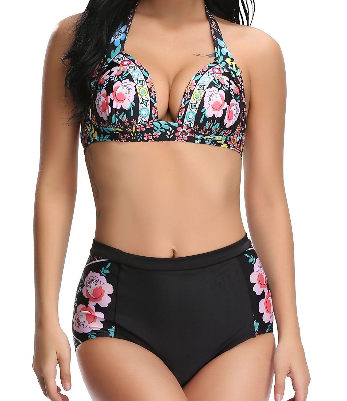 81c3bf00dba8 Women's Clothing, Swimsuits & Cover Ups, Bikinis, Sets, Women's Halter  Bikini Floral Print Two Piece Swimsuits - Floral Print - CX18224TGU8 # Swimsuits ...