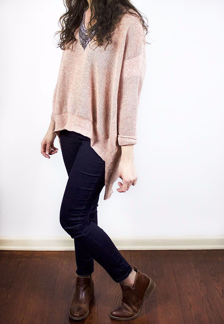 The Farrah Oversized High-low Sweater in Rose | Products