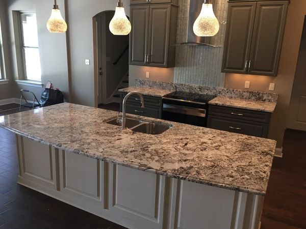 Alaska White Granite Countertop On Kitchen Island By Luxury Countertops