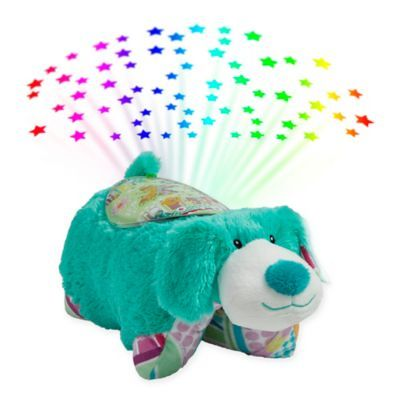 Pillow Pets Colorful Teal Puppy Pillow Pet With Sleeptime Lite