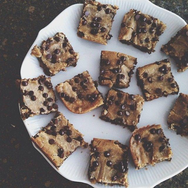 Chocolate chip chickpea blondies. Vegan   gluten free and sooo deliscious! #Padgram