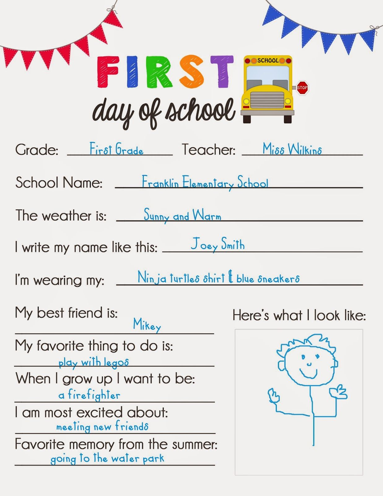 First Day Of School Questionnaire Survey Printable