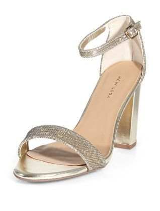 721b0acd11 Gold Glitter Block Heels | New Look | Fashion | Fashion, Shoes, Prom ...