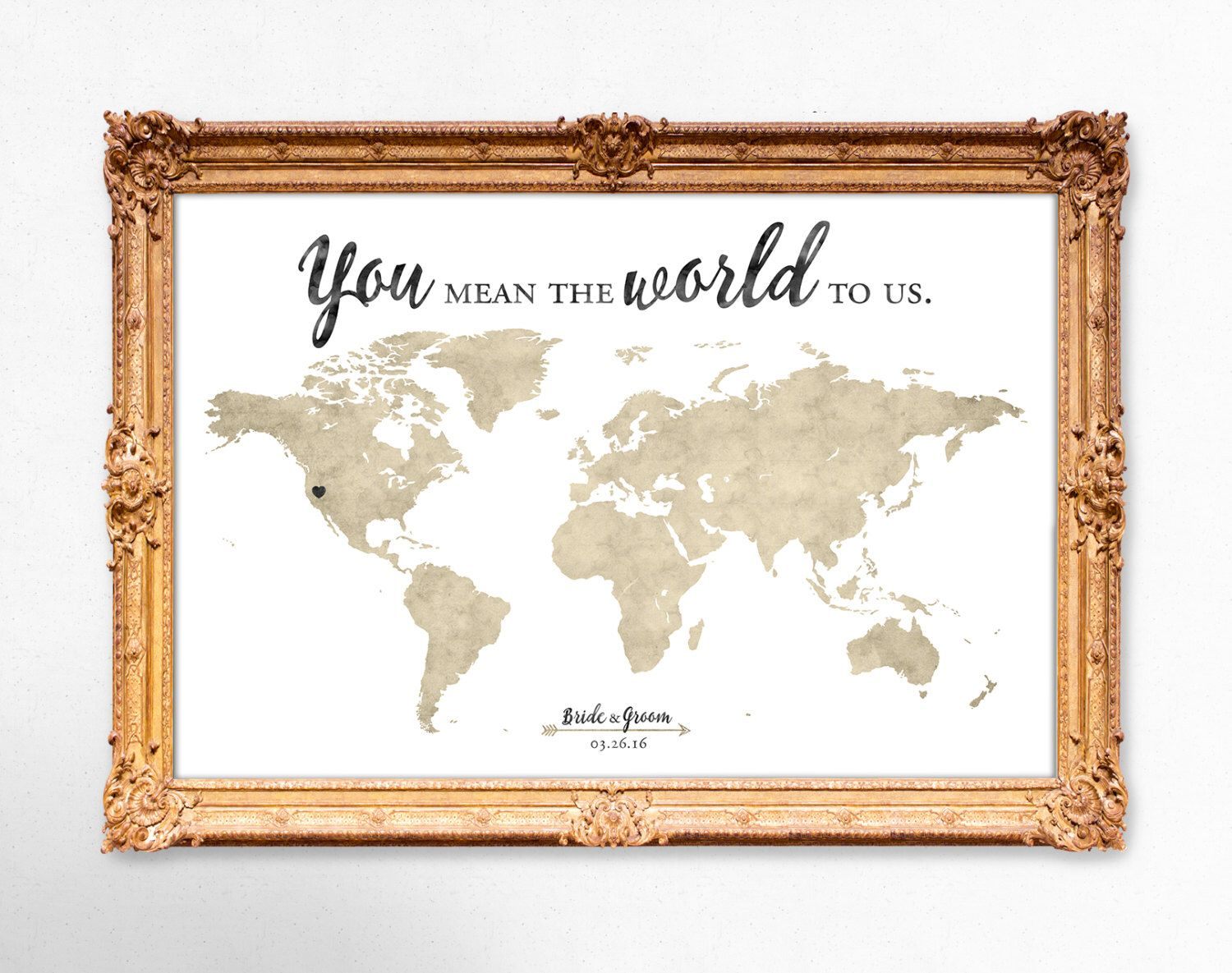 World Map Wedding Guest Book You Mean The World To Us 20x30