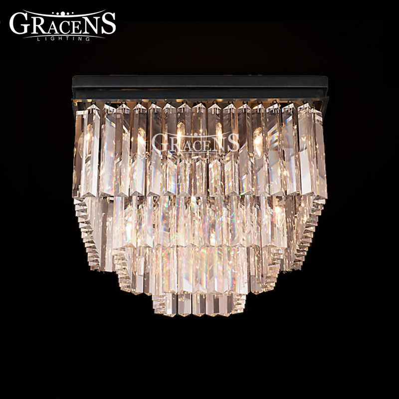 Square Crystal Chandeliers Lightings Authentic Lamp Fixture Hanging Light Ceiling Chandelie Item Type