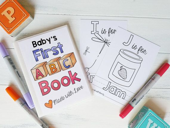Personalized ABC Book   Baby Shower Activity   Alphabet Baby Book - copy abc coloring pages for baby shower