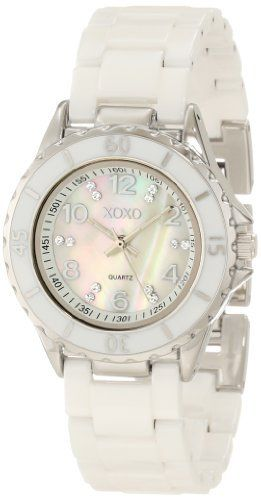 XOXO Women's XO2003 Swarovski Crystal Accented Silver-Tone White Ceramic Bracelet Watch XOXO. $39.99. Metal jewelry clasp. One extenstion clasp included for adjustable length. Length can be adjusted by yourself without need of a jeweler. White ceramic bracelet. White enamel bezel with printed arabic number at 15, 30, 45, 60 on a silver-tone case and swarovski crystals at rest on dial. Mother-of-Pearl dial with roman numerals at 12-2-4-6-8-10 index markers and swarovski c...