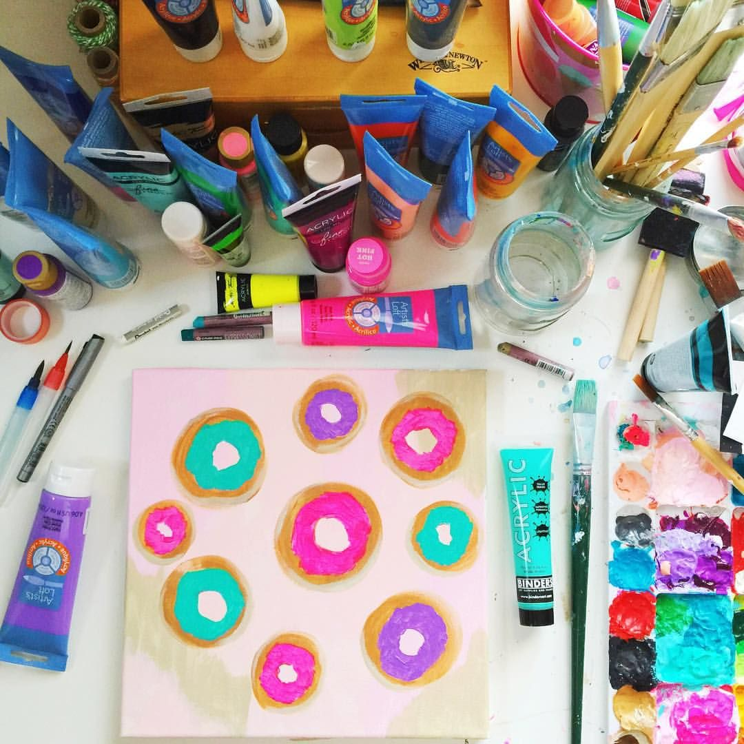 I had a craving tonight!  will add sprinkles later but having fun glazing these babies for now!  #donuts #abmlifeiscolorful #abmcrafty #paletteparty #colorful #messydesk #flashesofdelight #popyacolour # #wip #makersgonnamake #igersofatlanta #igdaily #desk #artparty #iliketoARTYhard #artsupplies #rainbow #myunicornlife #mybeautifulmess
