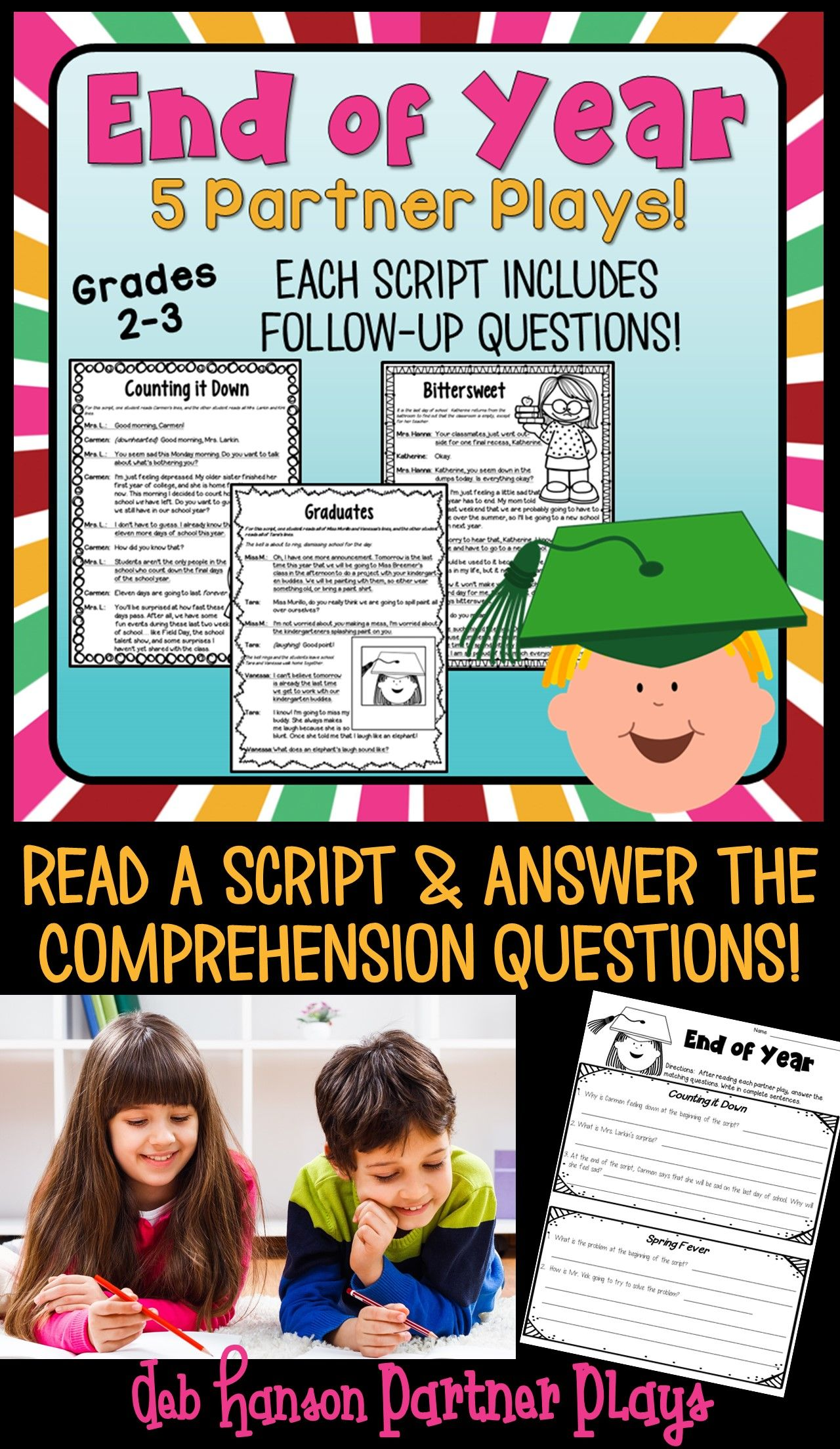 hight resolution of End of Year Partner Plays- this set contains 5 scripts and a follow-up  compr…   Reading fluency activities