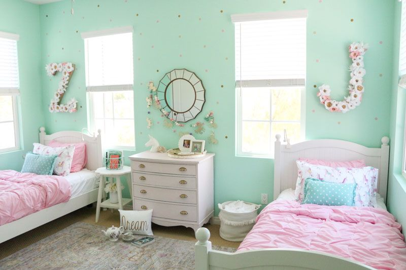 In The Shared Girls Room With 1111 Light Lane Project Nursery Shared Girls Room Mint Green Bedroom Mint Green Rooms