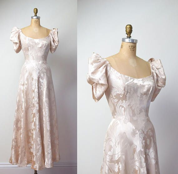 1930s Gown / 30s Damask Wedding Dress | Damasks, 1930s and Gowns