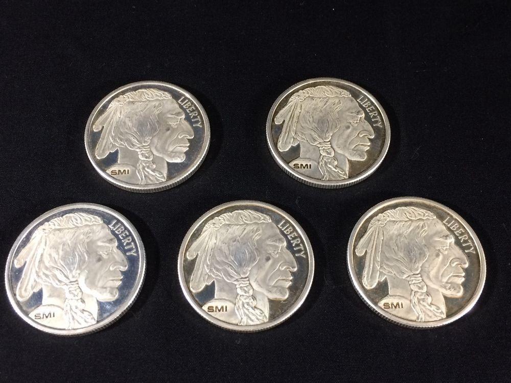 Lot Of 5 Smi 1 Troy Oz 999 Silver Rounds Buffalo Indian Head Coin Silver Bullion Silver Silver Rounds