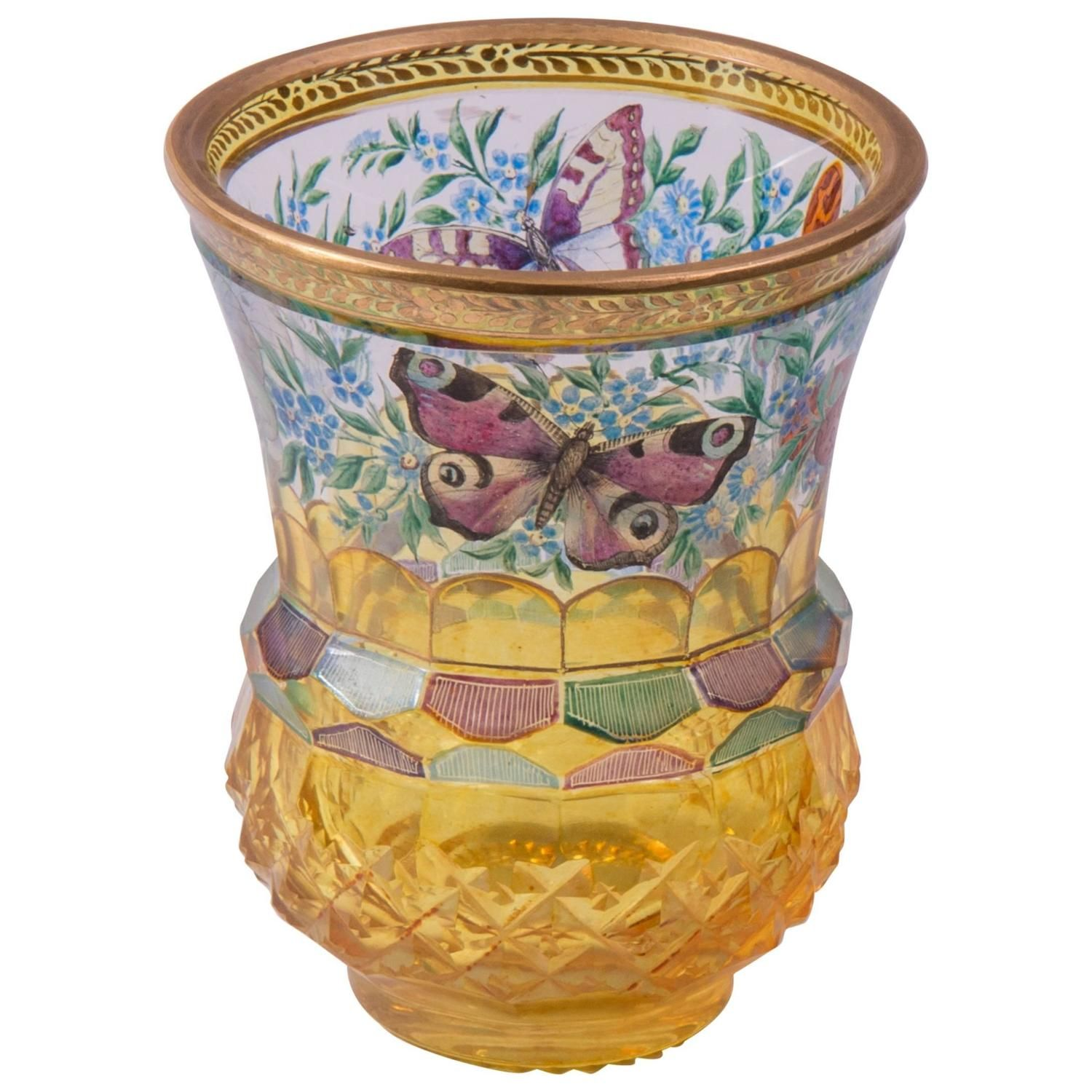 Glass Beaker with Butterflies, North Bohemia, circa 1830-1840 | From a unique collection of antique and modern glass at https://www.1stdibs.com/furniture/dining-entertaining/glass/