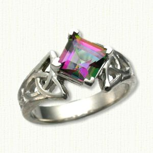 14kt White Gold Marishelle set with a 6 x 6 Mystic Topaz