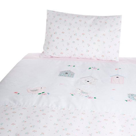 John Lewis Bird Lique Cotbed Duvet Set White Online At Johnlewis