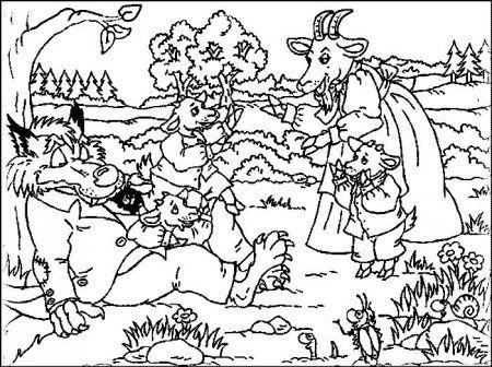 """Раскраски """"волк и семеро козлят"""" скачать и распечатать ..."""
