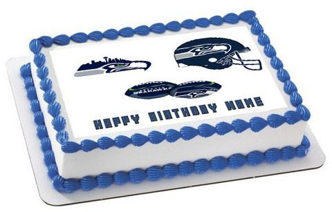SEATTLE SEAHAWKS Edible Birthday Cake Topper OR Cupcake Topper, Decor