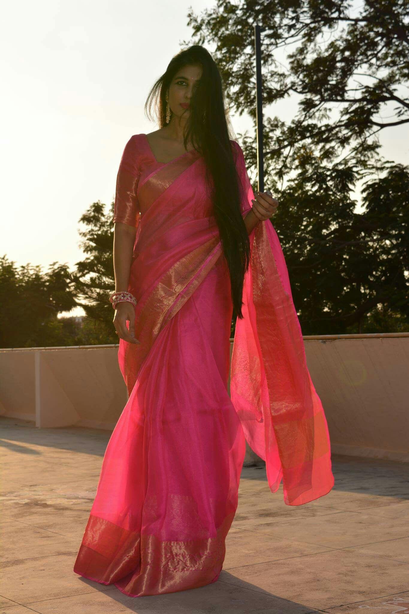 Pink Saree: Pink Sari With Gold Border #classic
