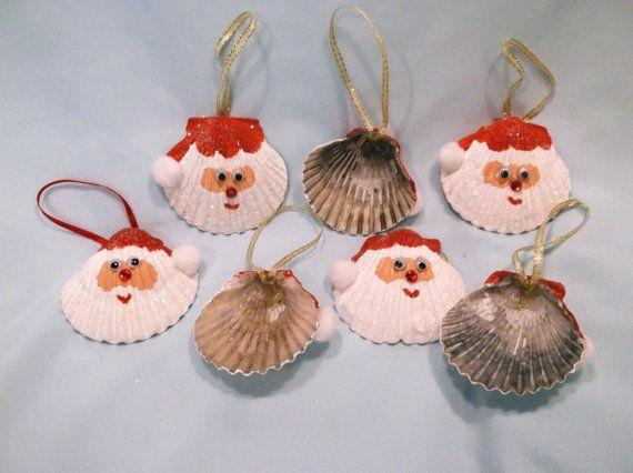 Set of two seashell santa christmas ornaments by for Christmas tree ornaments made from seashells