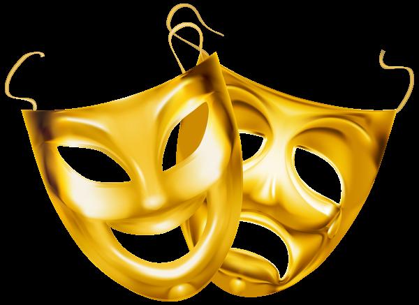 Gold Theater Masks Png Clipart Image Clip Art Theatre Masks Free Clip Art