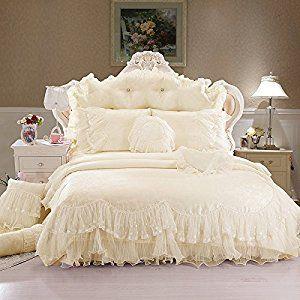 Amazon.com: Sisbay Rose Flower Wedding Bedding Beige King,Royal Girls Falbala Duvet Cover Lace Pillows,Romantic Ruffle Bed Skirt,8pcs: Home & Kitchen