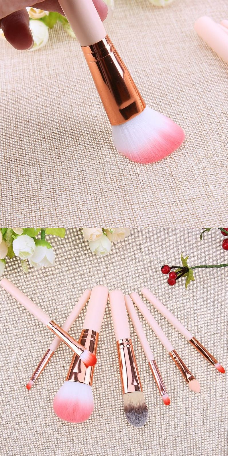 Mini makeup brush set pink cosmetics kit. Looking for