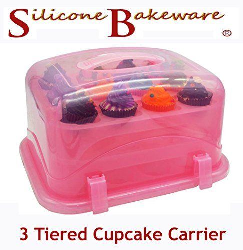 36 Cupcake Carrier Mister Chef Snap And Stack 3Tier Cupcake Holder And Cake Carrier