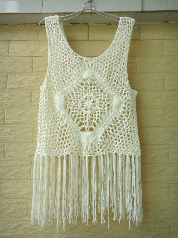 912a632b0d36b Hippie Long Fringe Crochet Vest Beach Cover Up Music Festival Top ...