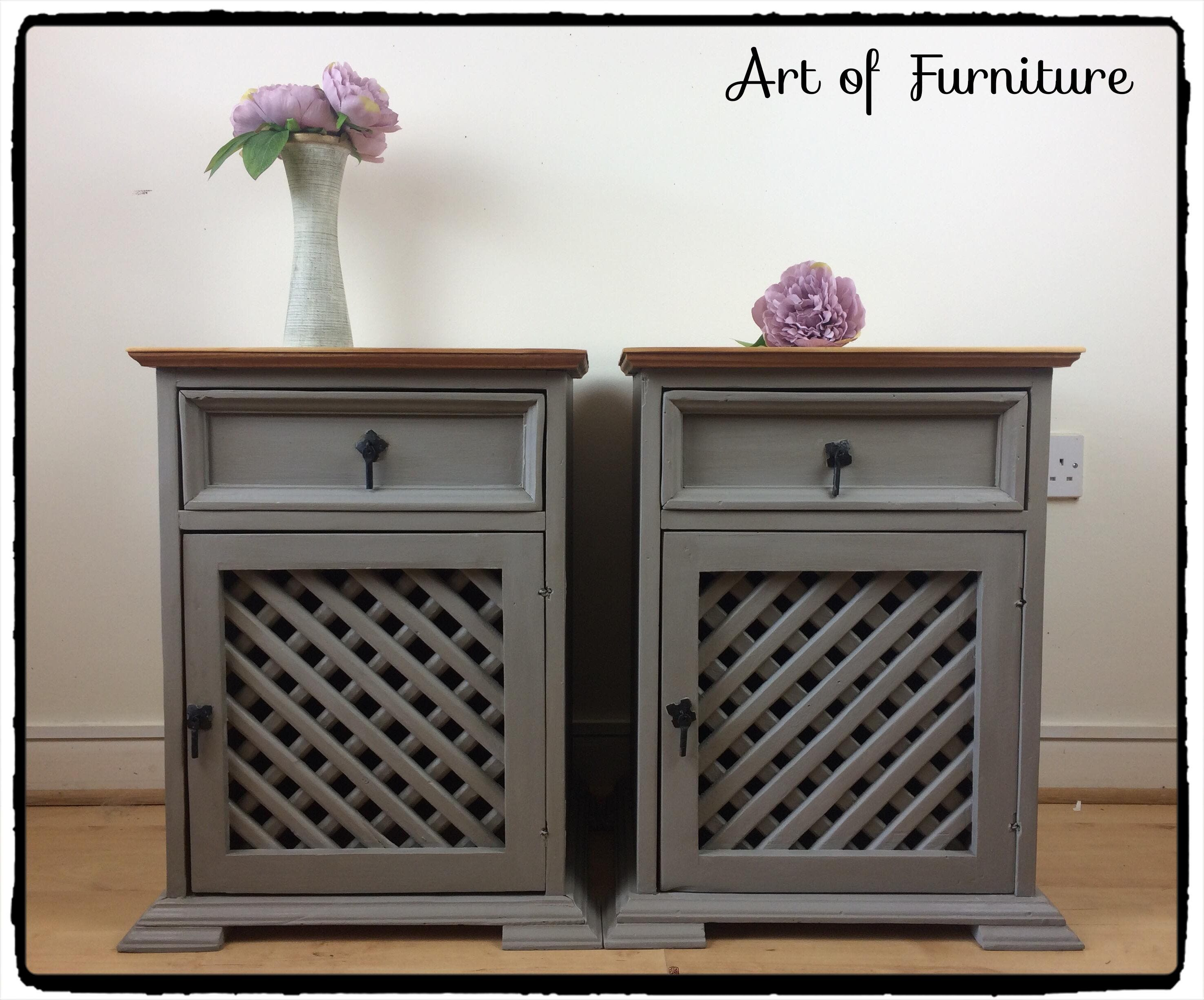 A Pair Of Mexican Rustic Pine Bedside Tables Cabinets Hand Painted In Annie Sloan French Linen Chalk Paint Bedroom Furniture Upcycled By Artoffurniture0205