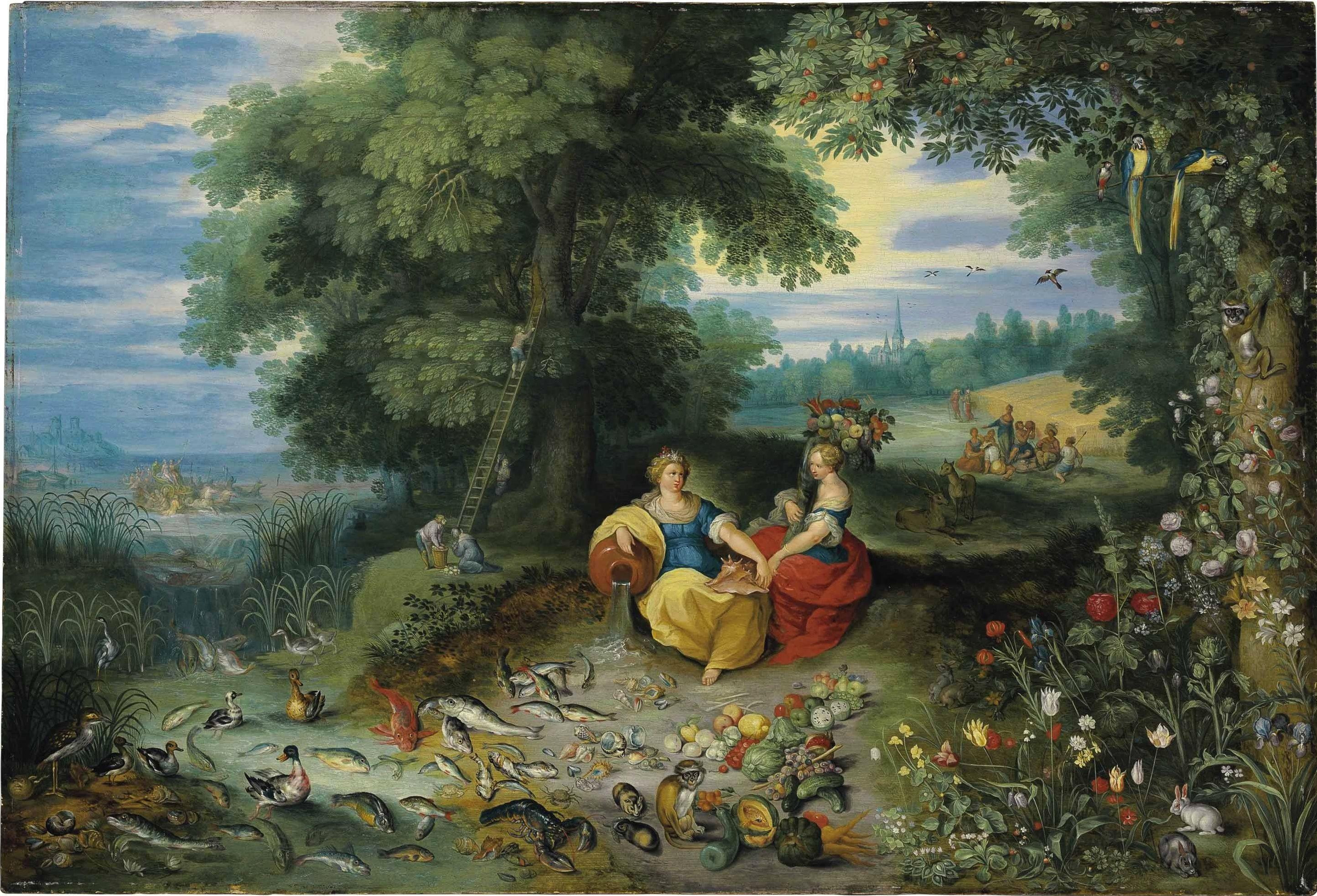 * Jan Brueghel II (de Jonge) - - - Een allegorie van water en aarde