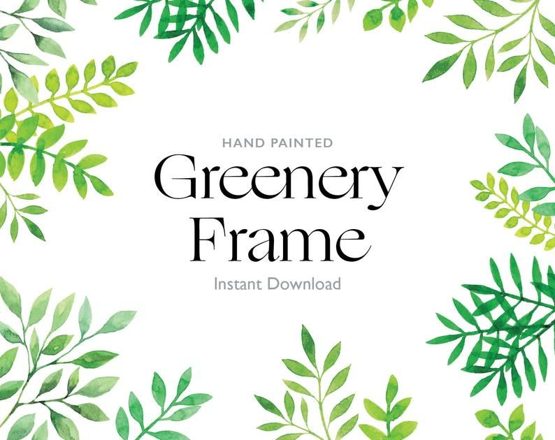 Green Watercolor Graphics Leafs Page Border Frames Digital