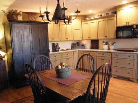 A Primitive Place ~ Primitive U0026 Colonial Inspired Kitchens. I Like The  Large Cupboard Instead Of The Pantry Cabinet