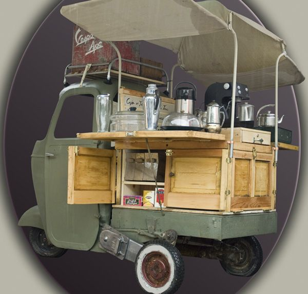 la barra cafe fit out by art customs rustic piaggio ape coffee truck vehicle bike. Black Bedroom Furniture Sets. Home Design Ideas