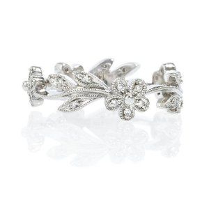 Diamond 14k White Gold Antique Flower Wedding Band Ring