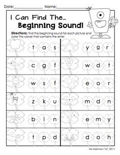Beginning Sound Worksheets Free - Worksheets